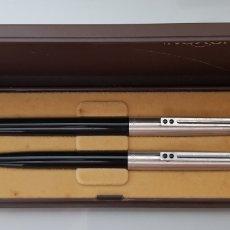 Estilográficas antiguas, bolígrafos y plumas: ANTIGUO CONJUNTO INOXCROM 77 NEGRO Y ACERO SIN USAR EN CAJA ORIGINAL. Lote 132549750
