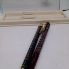 Estilográficas antiguas, bolígrafos y plumas: JUEGO BOLÍGRAFO Y PORTAMINAS CON ESTUCHE. Lote 133305493