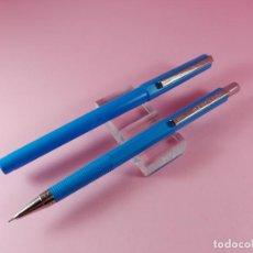 Estilográficas antiguas, bolígrafos y plumas - *9874-JUEGO-ROLLER+PORTAMINAS-INOXCROM-AZUL-DESCATALOGADO-NOS-VER FOTOS - 160873557