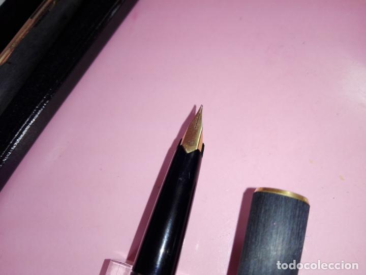 Estilográficas antiguas, bolígrafos y plumas: *9829-JUEGO-PLUMA ESTILOGRÁFICA+BOLÍGRAFO-MONTBLANC-NEGRO-CHASSING-NUEVO-CAJA-VER FOTOS - Foto 9 - 140183810