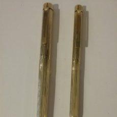 Estilográficas antiguas, bolígrafos y plumas: JUEGO DE PLUMA Y BOLÍGRAFO MARCA SHEAFFER, BAÑO DE ORO 14 K. USA.. Lote 140374156