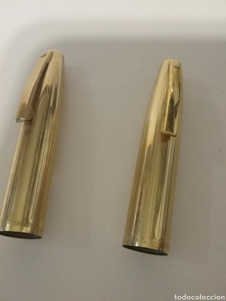 Estilográficas antiguas, bolígrafos y plumas: Pareja de pluma y bolígrafo Marca Sheaffer chapado 12k. - Foto 3 - 141304992