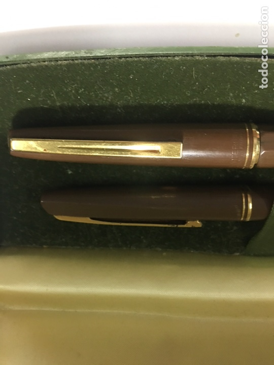 Estilográficas antiguas, bolígrafos y plumas: Pluma y bolígrafo Waterman marrón mate exagonal con plumin oro 18kl antigua para coleccionistas - Foto 2 - 154709616