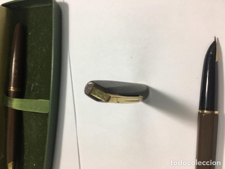 Estilográficas antiguas, bolígrafos y plumas: Pluma y bolígrafo Waterman marrón mate exagonal con plumin oro 18kl antigua para coleccionistas - Foto 6 - 154709616