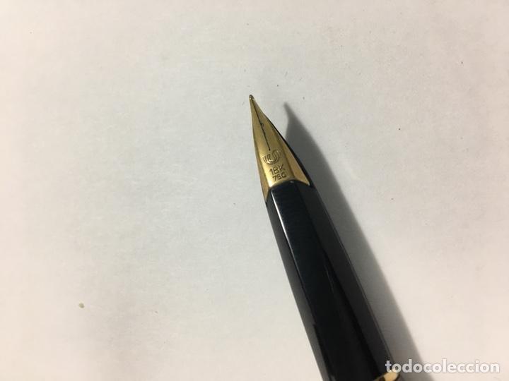 Estilográficas antiguas, bolígrafos y plumas: Pluma y bolígrafo Waterman marrón mate exagonal con plumin oro 18kl antigua para coleccionistas - Foto 7 - 154709616