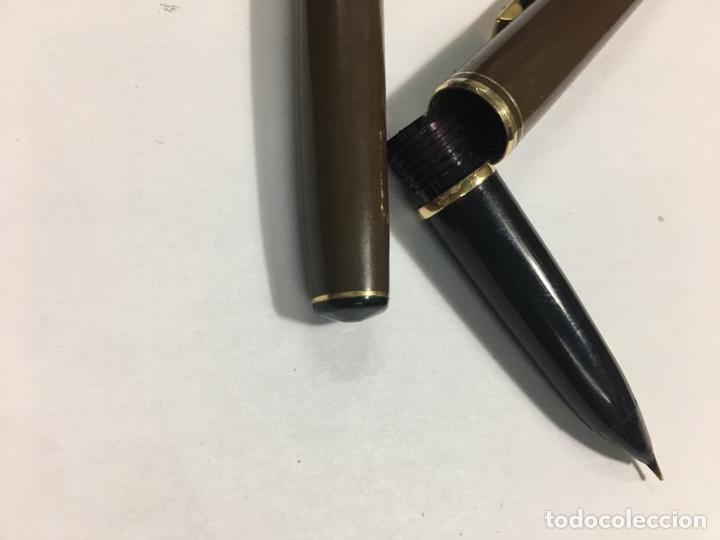 Estilográficas antiguas, bolígrafos y plumas: Pluma y bolígrafo Waterman marrón mate exagonal con plumin oro 18kl antigua para coleccionistas - Foto 11 - 154709616