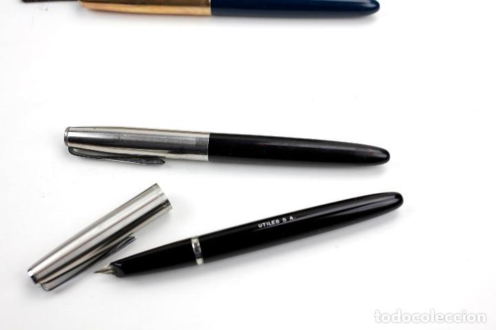 Estilográficas antiguas, bolígrafos y plumas: Caja con tres plumas Parker. No están en funcionamiento. 13,5cm - Foto 3 - 144078278