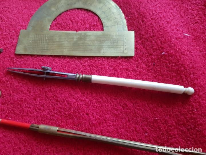 Estilográficas antiguas, bolígrafos y plumas: Antiguo conjunto de compases profesionale messing,england la pieza de mango blanco no esta a la vent - Foto 3 - 145394074
