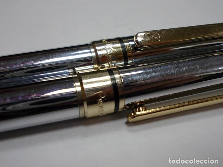 Estilográficas antiguas, bolígrafos y plumas: Conjunto portaminas y boligrafo de la firma Pierre Cardin en acero NO ORIGINAL - Foto 2 - 146493722