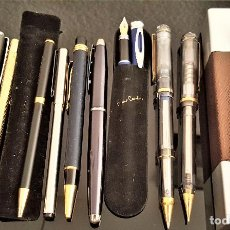 Estilográficas antiguas, bolígrafos y plumas: LOTE DE 10 BOLIGRAFOS INOXCROM Y OTROS Y PLUMA PIERRE CARDIN METALICOS. Lote 146631306