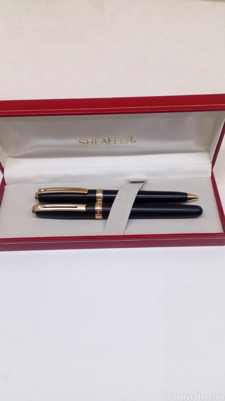 Estilográficas antiguas, bolígrafos y plumas: Juego Pluma y bolígrafo Sheffer lacado negro en su estuche gran calidad - Foto 2 - 152248022
