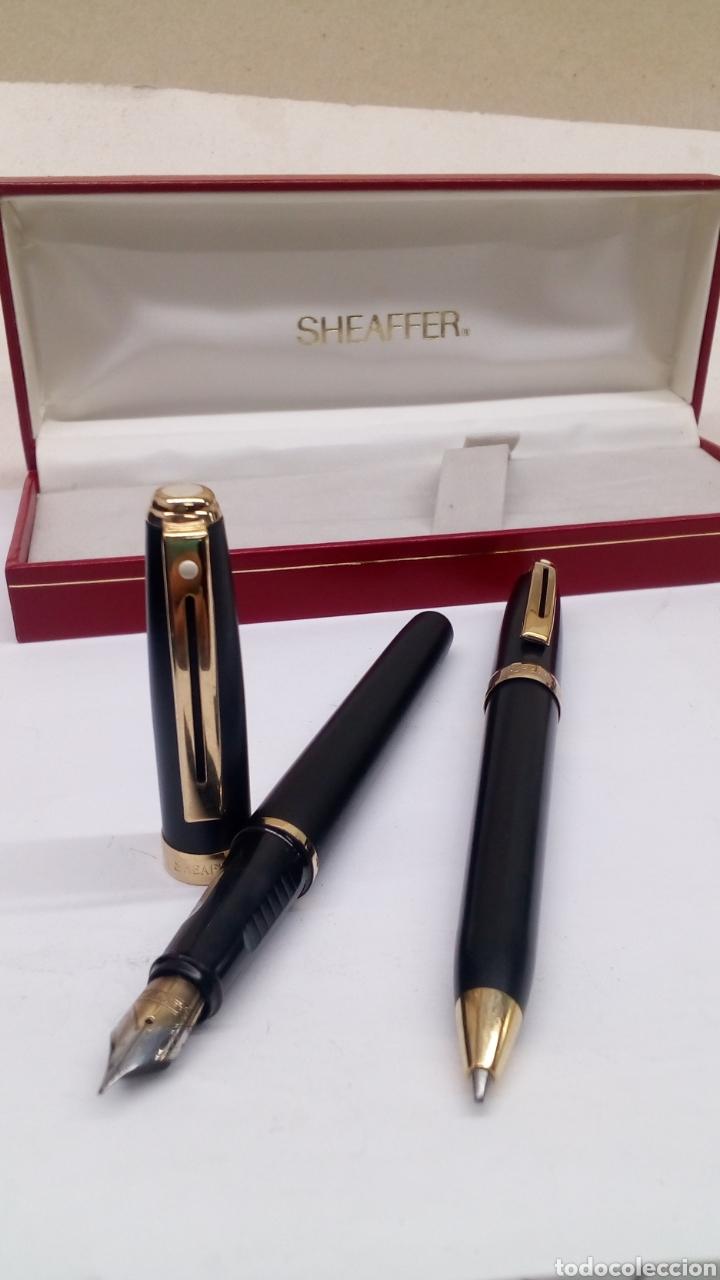 Estilográficas antiguas, bolígrafos y plumas: Juego Pluma y bolígrafo Sheffer lacado negro en su estuche gran calidad - Foto 6 - 152248022