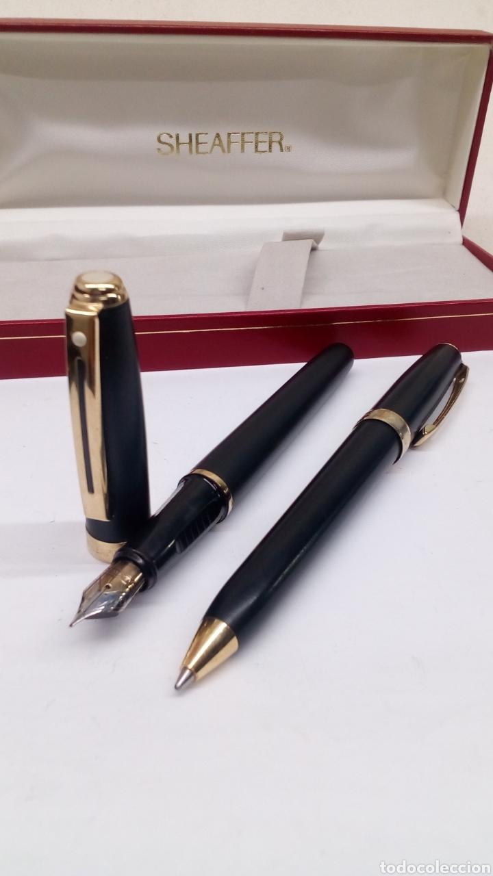 Estilográficas antiguas, bolígrafos y plumas: Juego Pluma y bolígrafo Sheffer lacado negro en su estuche gran calidad - Foto 8 - 152248022