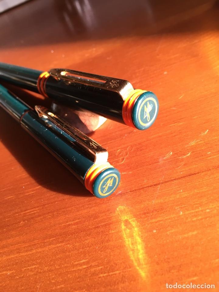 Estilográficas antiguas, bolígrafos y plumas: Pluma + bolígrafo waterman forum de color verde. - Foto 3 - 150547476