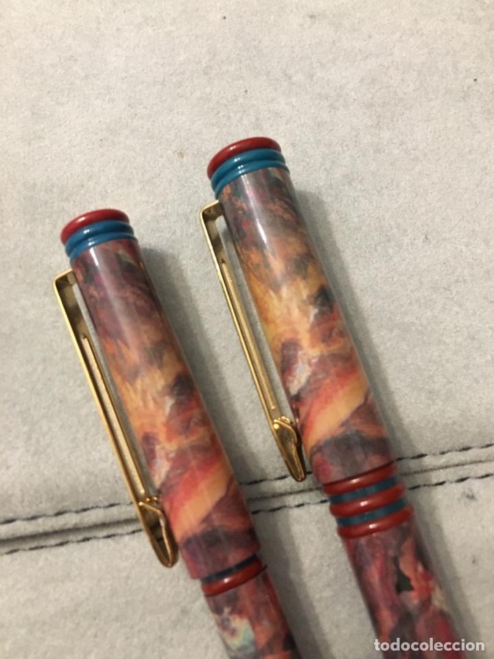 Estilográficas antiguas, bolígrafos y plumas: Pluma + bolígrafo waterman marmolado. - Foto 9 - 150682864