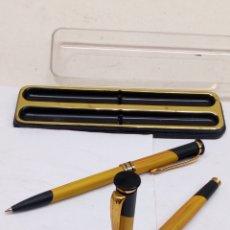 Estilográficas antiguas, bolígrafos y plumas: JUEGO PLUMA Y BOLÍGRAFO EN ESTUCHE. Lote 154226670