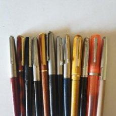 Estilográficas antiguas, bolígrafos y plumas: LOTE 12 PLUMAS PARKER Y VARIOS Y 1 BOLIGRAFO. Lote 154808062