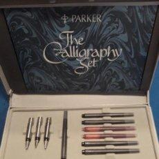 Estilográficas antiguas, bolígrafos y plumas: ESTUCHE 4 PLUMILLAS PARKER ORIGINALES THE CALLIGRAPHY SET. Lote 155677226