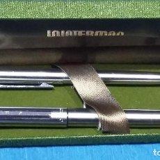 Estilográficas antiguas, bolígrafos y plumas: WATERMAN GOUTTE AÑOS 70-80, BASTANTE RARO. PLUMA Y BOLIGRAFO EN ESTUCHE ORIGINAL. SIN USO. Lote 158759630