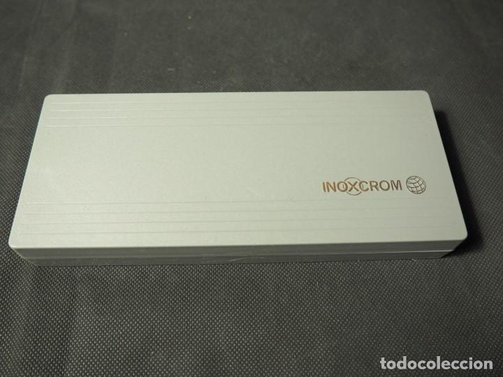 Estilográficas antiguas, bolígrafos y plumas: Juego Inoxcrom con click chapado en oro. A estrenar - Foto 5 - 159120690