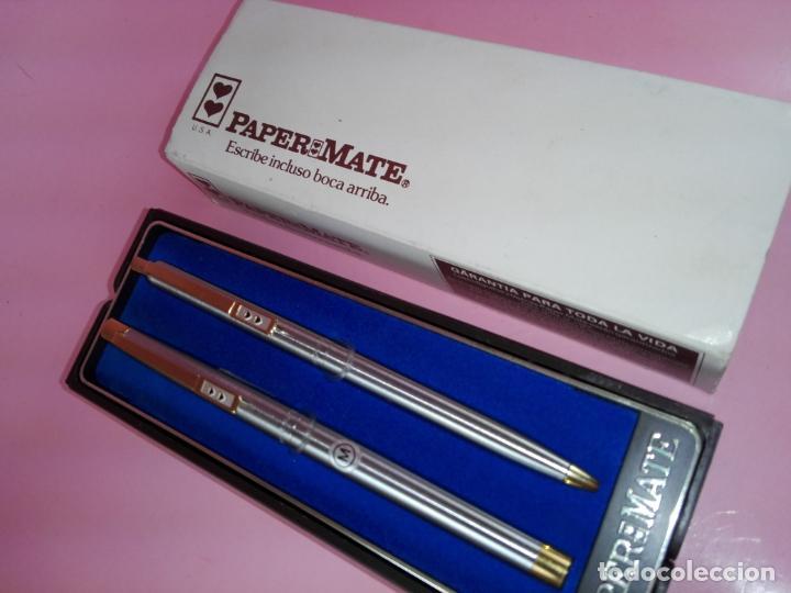Estilográficas antiguas, bolígrafos y plumas: N9751-juego-paper mate dinasty-pluma+bolígrafo-nuevo-cajas-ver fotos - Foto 3 - 163549966
