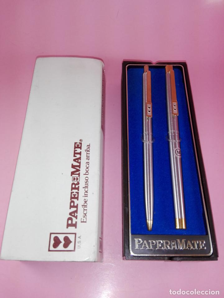 Estilográficas antiguas, bolígrafos y plumas: N9751-juego-paper mate dinasty-pluma+bolígrafo-nuevo-cajas-ver fotos - Foto 4 - 163549966