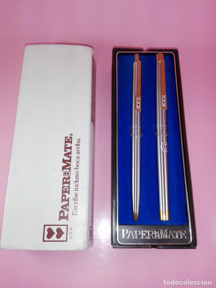 Estilográficas antiguas, bolígrafos y plumas: N9751-juego-paper mate dinasty-pluma+bolígrafo-nuevo-cajas-ver fotos - Foto 5 - 163549966