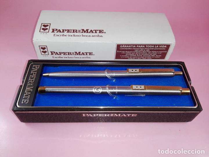 Estilográficas antiguas, bolígrafos y plumas: N9751-juego-paper mate dinasty-pluma+bolígrafo-nuevo-cajas-ver fotos - Foto 6 - 163549966