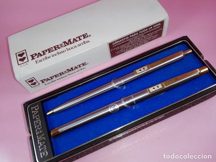 Estilográficas antiguas, bolígrafos y plumas: N9751-juego-paper mate dinasty-pluma+bolígrafo-nuevo-cajas-ver fotos - Foto 7 - 163549966