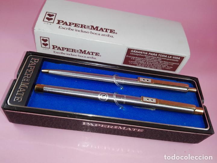 Estilográficas antiguas, bolígrafos y plumas: N9751-juego-paper mate dinasty-pluma+bolígrafo-nuevo-cajas-ver fotos - Foto 8 - 163549966