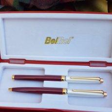 Estilográficas antiguas, bolígrafos y plumas: JUEGO DE BOLI Y PLUMA BELBOL. Lote 165997821