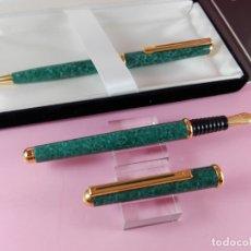 Estilográficas antiguas, bolígrafos y plumas: JUEGO-INOXCROM MONTECARLO-JASPEADO VERDE-CAJA-NOS-ETIQUETA-VER FOTOS. Lote 167635472