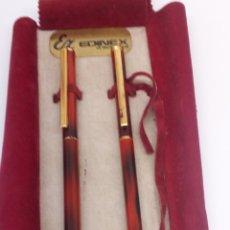 Estilográficas antiguas, bolígrafos y plumas - Juego bolígrafo y pluma cuerpo marmolado rojo - 169322961