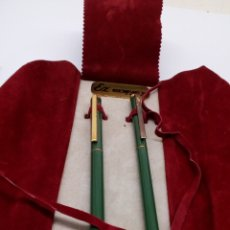 Estilográficas antiguas, bolígrafos y plumas - Juego bolígrafo y pluma cuerpo lacado verde - 169323469