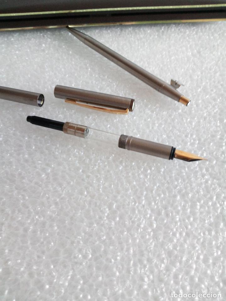 Estilográficas antiguas, bolígrafos y plumas: Estuche montblanc slimline oro 585 pluma y boligrafo sin uso slim line - Foto 5 - 171703035