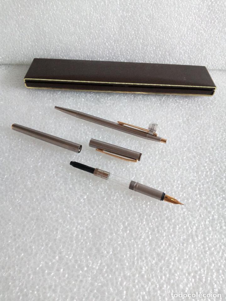 Estilográficas antiguas, bolígrafos y plumas: Estuche montblanc slimline oro 585 pluma y boligrafo sin uso slim line - Foto 10 - 171703035