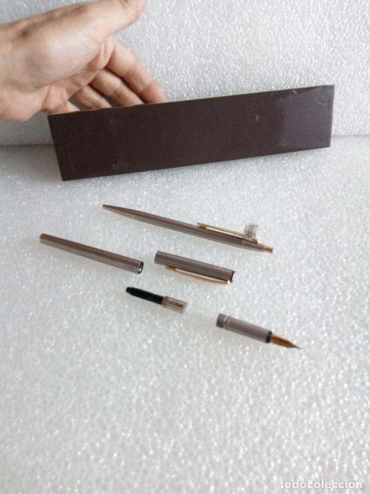 Estilográficas antiguas, bolígrafos y plumas: Estuche montblanc slimline oro 585 pluma y boligrafo sin uso slim line - Foto 11 - 171703035