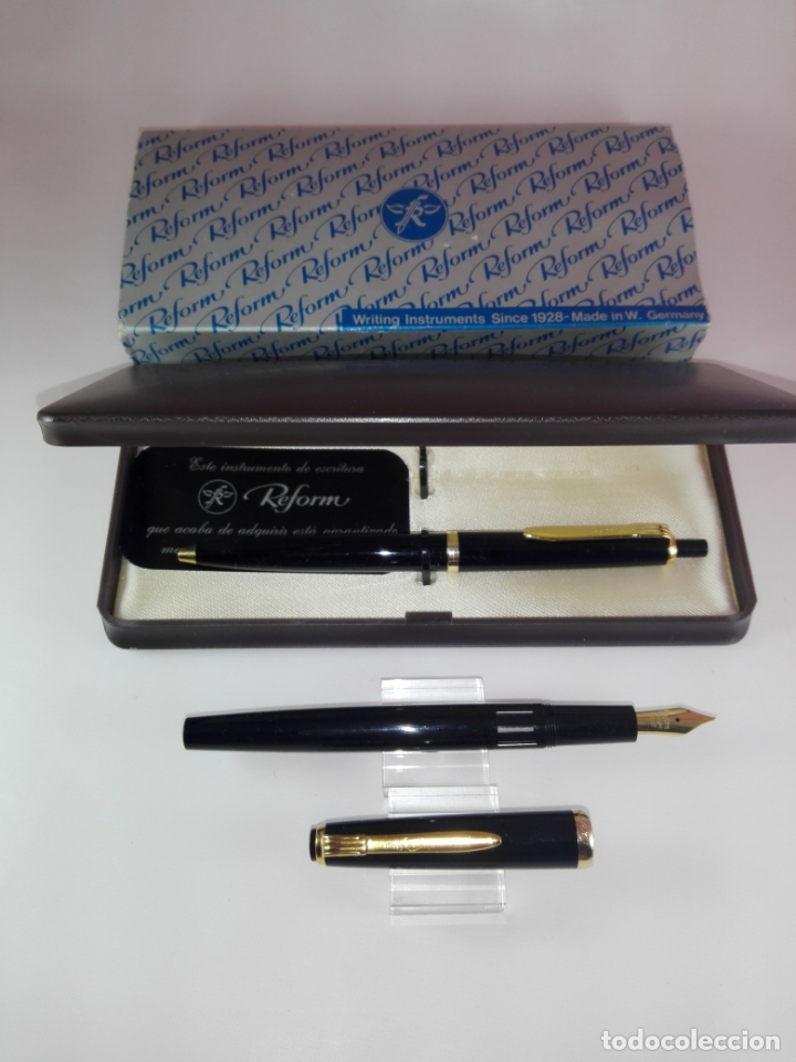 Estilográficas antiguas, bolígrafos y plumas: 9410/Juego-Pluma+Bolígrafo-Reform-W,Germany-NOS-C.1970-Pluma con visor-Cajas-Etiqueta-Nueva-Negra+D - Foto 6 - 173426627