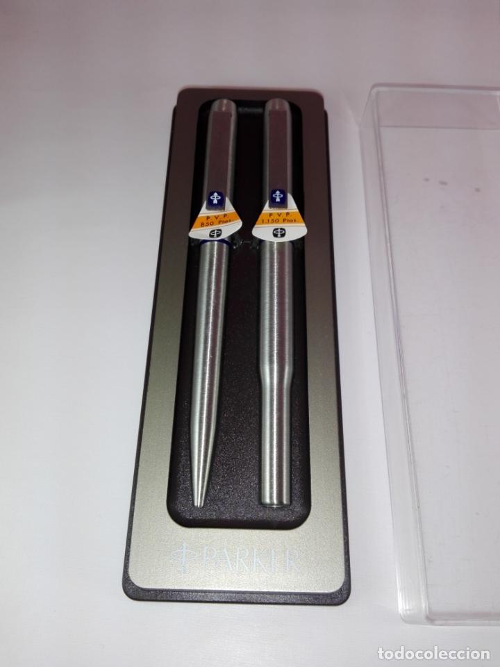 Estilográficas antiguas, bolígrafos y plumas: N145-Juego-Pluma estilográfica+Bolígrafo-Parker 25 Dº.Azul-UK-NOS-Caja-Convertidor-(1975/1994) - Foto 12 - 173156504