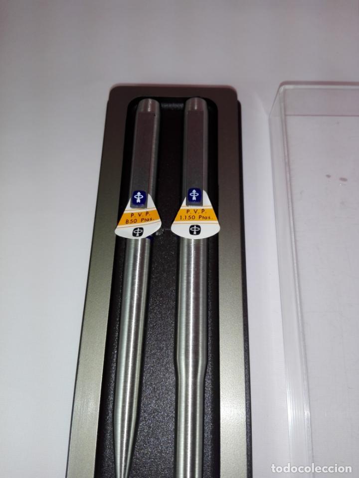 Estilográficas antiguas, bolígrafos y plumas: N145-Juego-Pluma estilográfica+Bolígrafo-Parker 25 Dº.Azul-UK-NOS-Caja-Convertidor-(1975/1994) - Foto 4 - 173156504