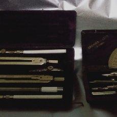 Estilográficas antiguas, bolígrafos y plumas: 2 JUEGO COMPAS ANTIGUOS. Lote 174022463
