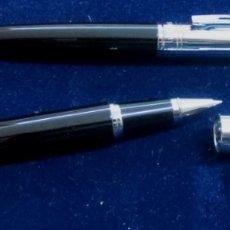 Estilográficas antiguas, bolígrafos y plumas: CONJUNTO BOLÍGRAFO Y ROLLER MARCA SHEAFFER NEGRO Y ACERO. Lote 174289463