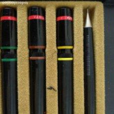 Estilográficas antiguas, bolígrafos y plumas: ROTRING TRES ESTILOGRAFOS Y PORTAMINAS. Lote 175356729