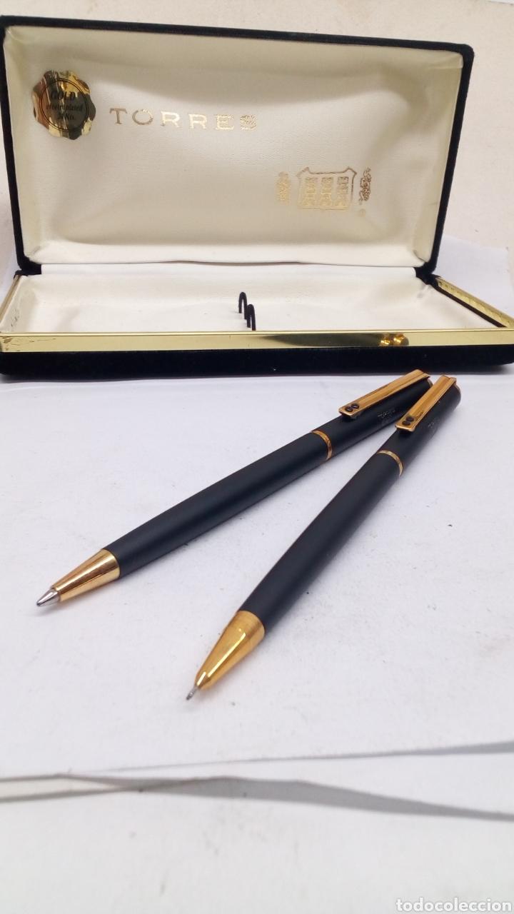 Estilográficas antiguas, bolígrafos y plumas: Juego Bolígrafo y portaminas Inoxcrom cuerpo lacado negro - Foto 2 - 175561395