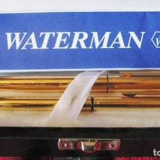 Estilográficas antiguas, bolígrafos y plumas: WATERMAN ORIGINAL.CHAPADOS EN ORO BELLO GUILOCHE.BOLIGRAFO Y PLUMA PLUMIN ORO 18K.ESTUCHE. Lote 176172223