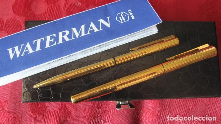 Estilográficas antiguas, bolígrafos y plumas: WATERMAN ORIGINAL.CHAPADOS EN ORO BELLO GUILOCHE.BOLIGRAFO Y PLUMA PLUMIN ORO 18K.ESTUCHE - Foto 6 - 176172223