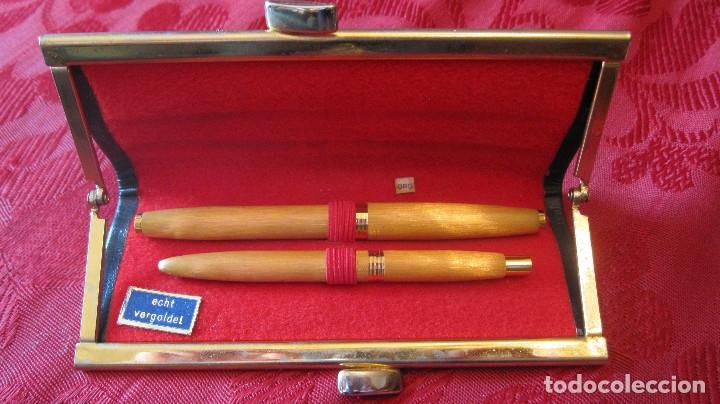 Estilográficas antiguas, bolígrafos y plumas: LOSTER: ANTIGUO PRECIOSO JUEGO PLUMA BOLIGRAFO DORADOS EN UN ESTUCHE ORIGINAL - Foto 2 - 176279549