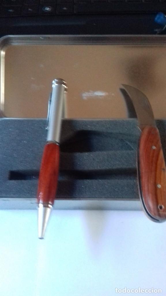 Estilográficas antiguas, bolígrafos y plumas: Conjunto de boligrafo y navaja con madera natural nunca usado - Foto 6 - 177034178