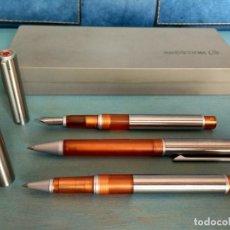 Estilográficas antiguas, bolígrafos y plumas: CONJUNTO DE PLUMA, BOLÍGRAFO Y ROLLER INOXCROM ARENA (DESCATALOGADO). Lote 174309879