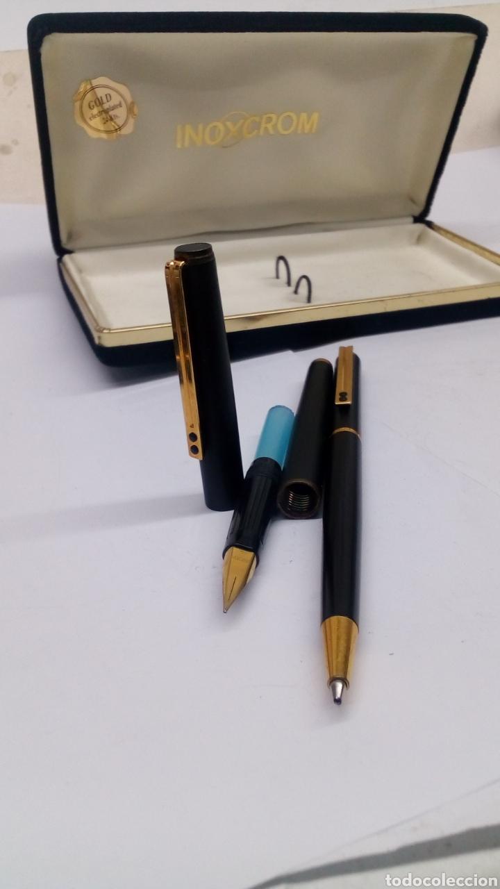 Estilográficas antiguas, bolígrafos y plumas: Juego bolígrafo y pluma Inoxcrom lacado negro - Foto 2 - 178230293